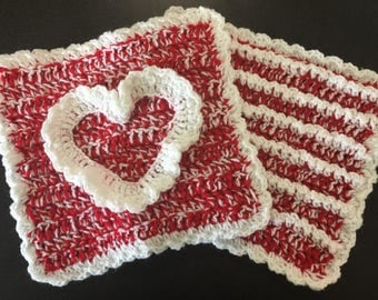 Set of 2 Large Crocheted Trivet Hot Pads
