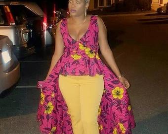 African print royal top