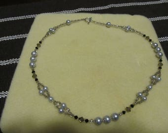 white, black & silver beaded necklace