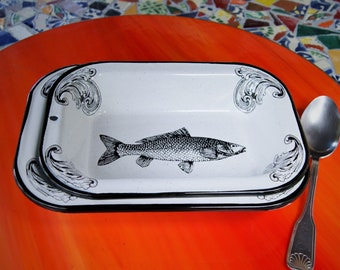 "Pair of Enamel Serving Dishes Mexican Fish Original Art Work Contemporary Design ""Sip of the Sea"", Rectangular"