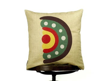 "Pillow Cover D monogram, bright color pillow cover, 16x16"", cotton cushion art cover, light background, Multi-Coloured, Child-safe printing."
