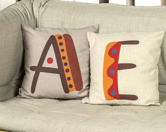 "Creative SET 2 pieces of pillows with unique typography letters of alphabet, Bright color, 16x16"", Cotton cushion cover, Child-safe printing"