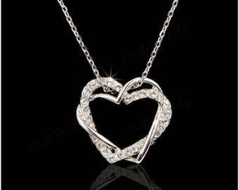 Platinum plated CZ Heart Nscklace
