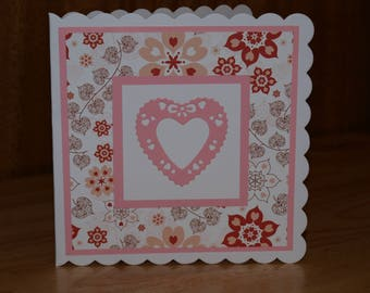 Handmade pink and red heart card