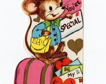 Vintage Mouse Mailman Valentine |  Greeting Card | Valentine's Day, Valentines, Anthropomorphic, Mice, Postal | Paper Ephemera