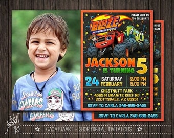 Invitation + Photo Blaze and the Monster Machines, Blaze and the Monster Machines Invitation, Blaze and the Monster Machines Birthday Party