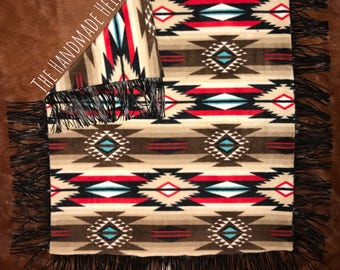 Southwest Baby Blanket with Leather Fringe
