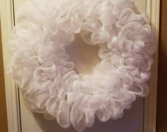 Large White Deco Mesh Wreath