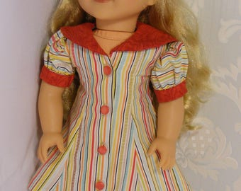"Unique Retro Front Buttoned Dress for 18"" American Girl Doll. Multicoloured Stripe Cotton"