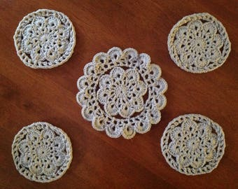Crochet coasters and Pitcher Mat