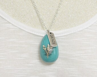 Grace Charm Necklace | Robin's Egg Pendant | Faith Jewelry | Mother's Day Gift | Christian Jewelry | Christian Gift Idea | Bible Gifts