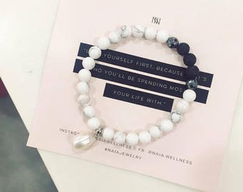 Pearl Howlite Diffuser Bracelet