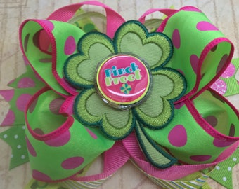 Handmade Boutique stacked hair bow st. Patrick's day green shamrock themed 5""
