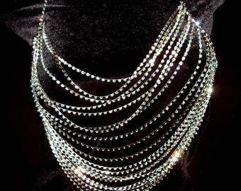 Rhinestone Body Breast Chain Bra Necklace Multi Layer Strand Sparkle Club Bling Gold Silver