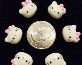 Resin Cute Kitty 20 Pieces for charms/earrings/necklaces/ hairbow/scrapbooking /crafts, etc.
