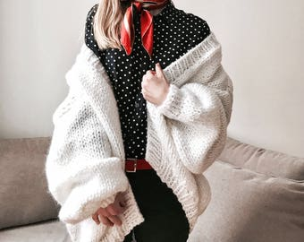 Oversized pearl white wool alpaca cardigan