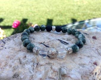 Genuine Seraphinite Bracelet Kundalini Bracelet Spiritual Enlightenment Bracelet Self Healing Serafina Stone Heart Chakra Love Sagittarius