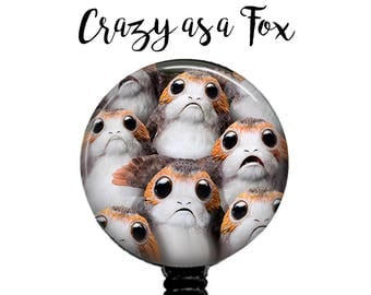 Star Wars Porgs Retractable Badge Holder, Badge Reel, Lanyard, Stethoscope ID Tag, The Last Jedi Teacher, Nurse md rn cna Gift