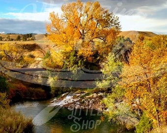 Waterfall Fall Colors Landscape Canvas Photography