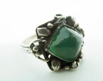 Chalcedony and Oxidised Silver Ring