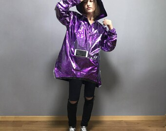 Shiny raincoat bright ultraviolet color with hood / hooded raincoat