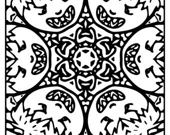 Wackadoodle Coloring square mandala #63