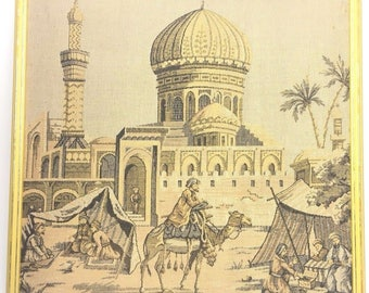 Rare Completed Needlepoint Panel Cairo Egypt Islamic Mosque Camel Market Antique