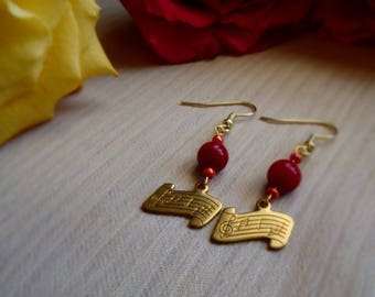 Music Sheet Handmade Earrings ~ Music ~ Gifts for her ~ Valentine's Day ~ Girlfriend Bride Gift ~ Golden Dangle Earrings ~ Birthday