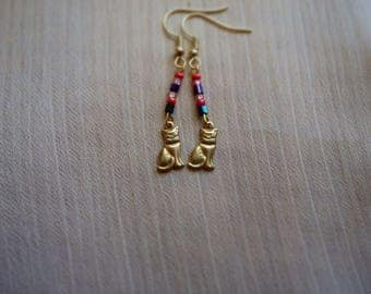 Little Cats Handmade Earrings ~ Girlfriend Gift ~ Girl ~ Golden Dangle Earrings ~ Birthday Party ~  Gifts for her ~ Valentine's Day ~ Fun