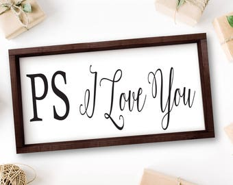 PS I Love You Wooden Sign, Bedroom Decor, Master Bedroom Decor, Quotes, Rustic Wood Signs, Bedroom Wall Decor, Large Bedroom Wall Art, Signs