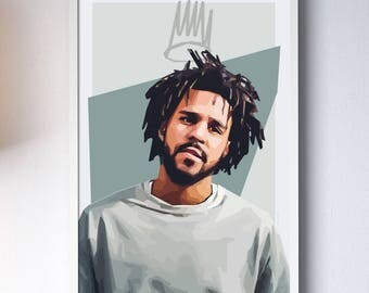 "J Cole - Digital High Quality Print 24x36"""