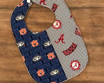 House divided baby bib, Alabama, auburn bib