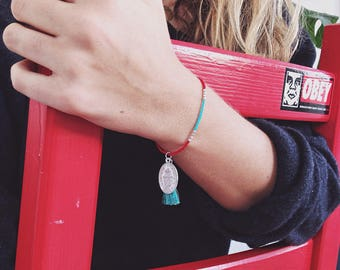 Delicate ethno Miyuki beaded bracelet with Medallion and tassel-turquoise and red