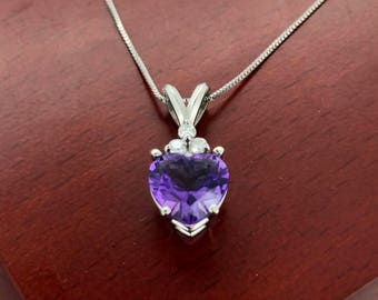 14K White Gold Box Chain and Amethyst Heart Pendant