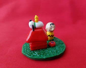 Charlie Brown and Snoopy -Polymer Clay Decoration-