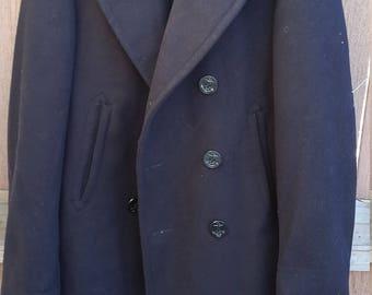 Vintage NAVY Black PEA COAT