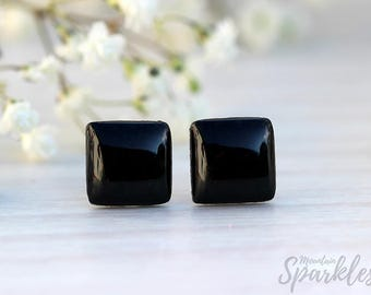 Man Black Studs, Titanium studs, Unisex Stud Earrings, Minimalist Square Earrings, Simple Earring Black, Man Gift, Black Gift for Boyfriend