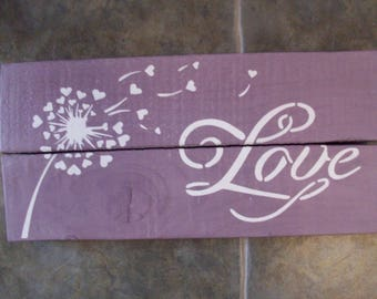 Reclaimed Rustic Wooden Hand Made Decorative Purple/White Love Sign Plaque