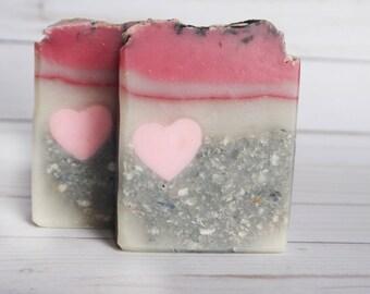 Love Struck - Heart Soap -  Love Soap - Valentines day gift for her - Coconut Oil Soap - Coconut Milk- Glow in the dark Cold Process present