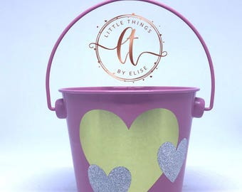 Small Valentine's Pail Bucket, Pink, Gold and Silver Hearts