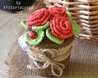 Roses in a pot Crochet flowers Gift for women