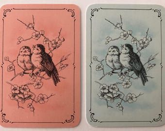 Pair Of Vintage MINIATURE Swap / Playing Cards - Beautiful Little Birds In Tree - Smooth Finish - Mint Condition