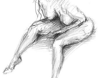 Naked Girl Pencil Sketch Art Print S01