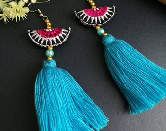 Handcraft Half Moon Embroidered Tribal Ethnic Earrings Statement Dangle Drop Gypsy Boho Chic Beaded Tassel Earrings