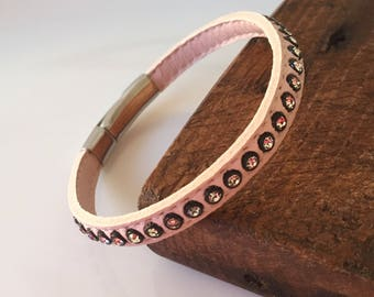 Baby pink leather bracelet with Swarovski crystals and magnetic silver plated clasp.