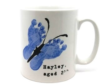 Personalised Footprint-in-a-Mug with a butterfly design