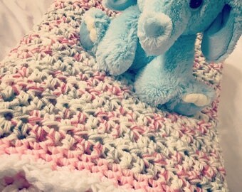 Pink and White Baby Blanket, Crochet Throw, Afghan Baby Blanket