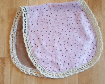 Pink Polka Dot Baby Burp Cloth with a Crocheted Edge