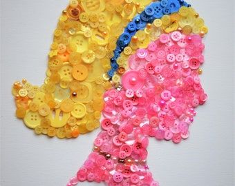 Button Art Silhouette of woman's face profile on canvas, wall art, home decor, made by hand, crafts, button crafts