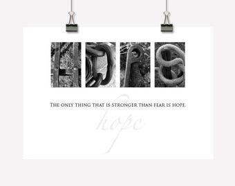 Hope Gift - Inspirational Wall Art/Decor - Downloadable Printable PDF - Photographic Typography